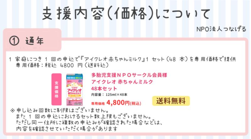 液体ミルク「アイクレオ赤ちゃんミルク」の購入価格